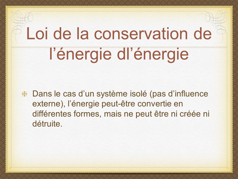 Loi de la conservation de l'énergie dl'énergie
