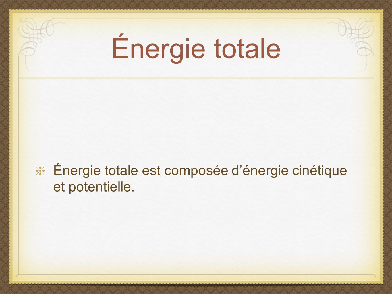 Énergie totale Énergie totale est composée d'énergie cinétique et potentielle.