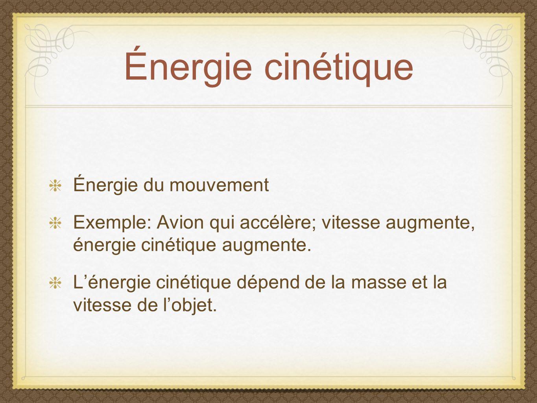 Énergie cinétique Énergie du mouvement