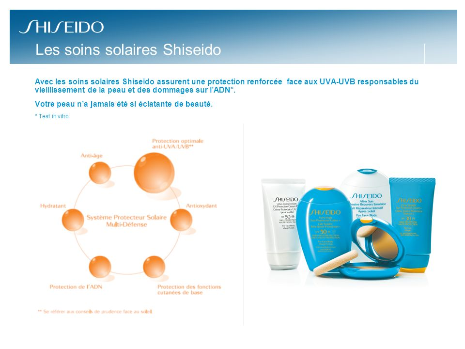 Les soins solaires Shiseido