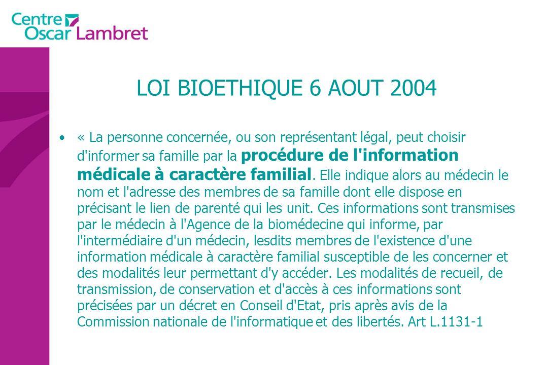LOI BIOETHIQUE 6 AOUT 2004
