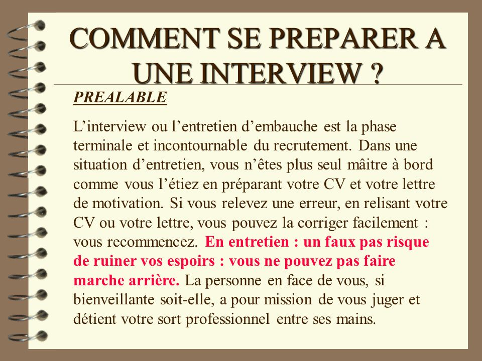 formation sur le theme   comment se preparer a une interview