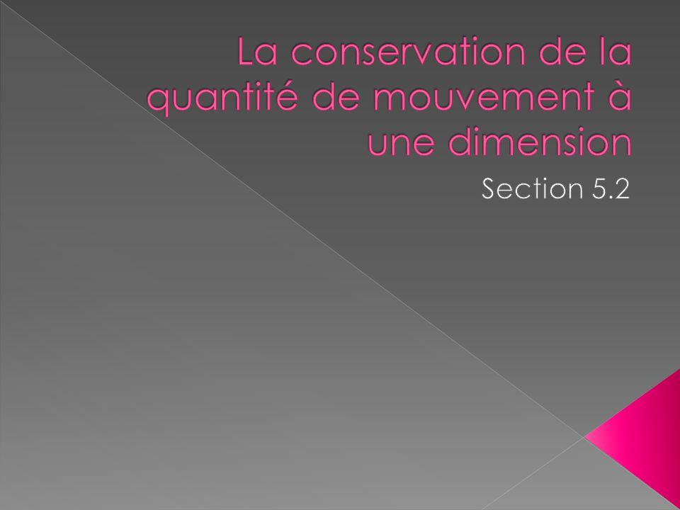 La conservation de la quantité de mouvement à une dimension