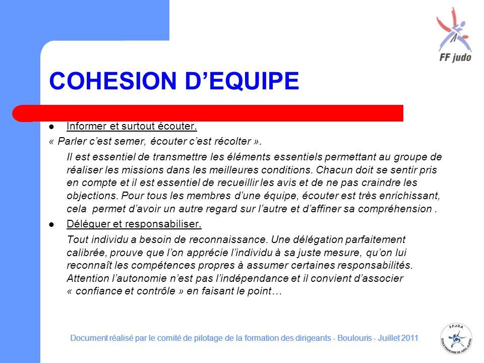 COHESION D'EQUIPE Informer et surtout écouter.