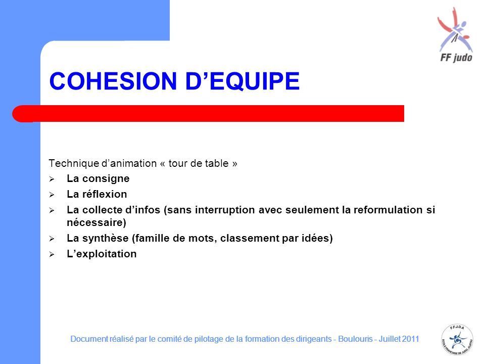 COHESION D'EQUIPE Technique d'animation « tour de table » La consigne