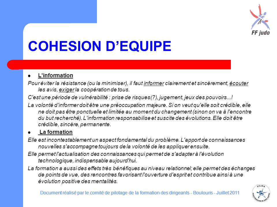 COHESION D'EQUIPE L information