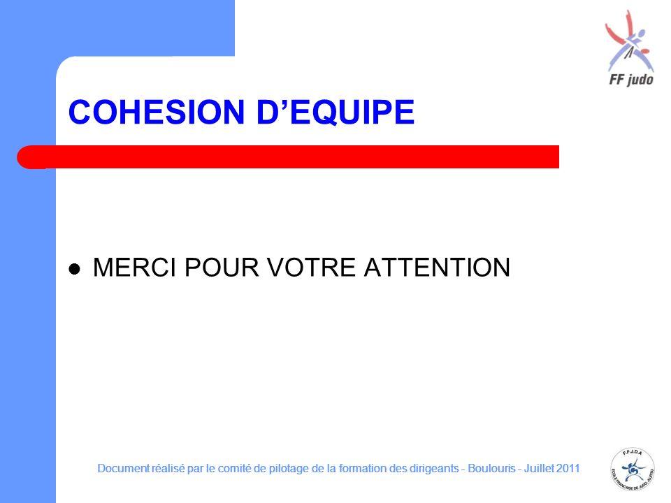 COHESION D'EQUIPE MERCI POUR VOTRE ATTENTION