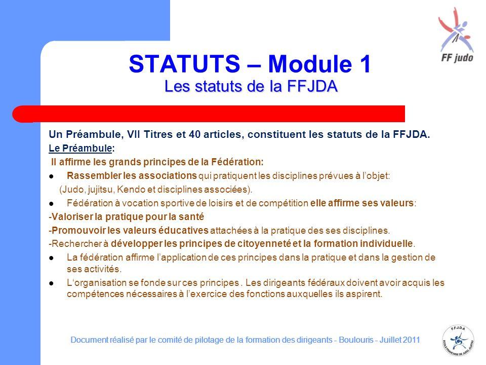 STATUTS – Module 1 Les statuts de la FFJDA
