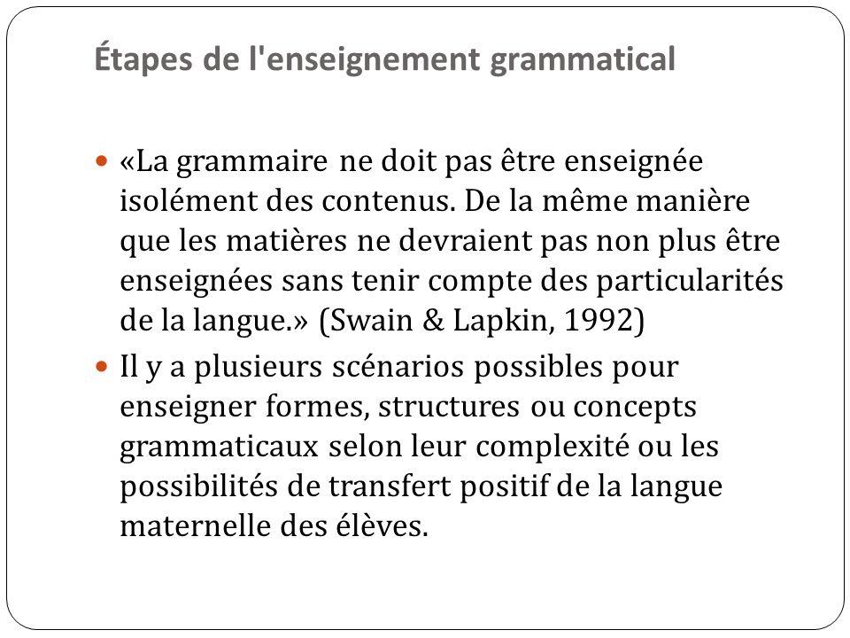 Étapes de l enseignement grammatical