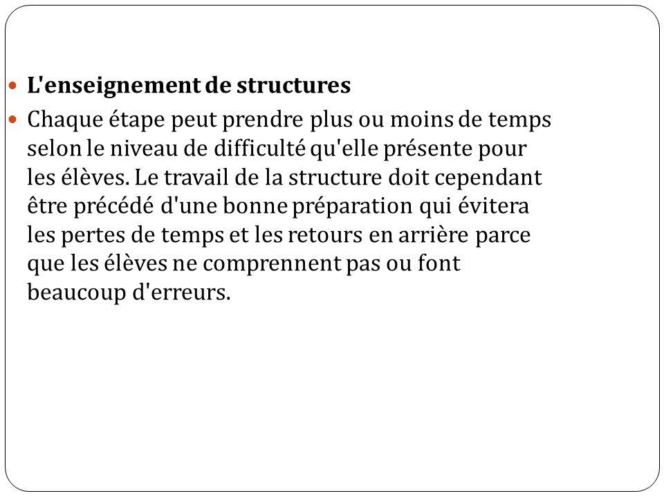 L enseignement de structures