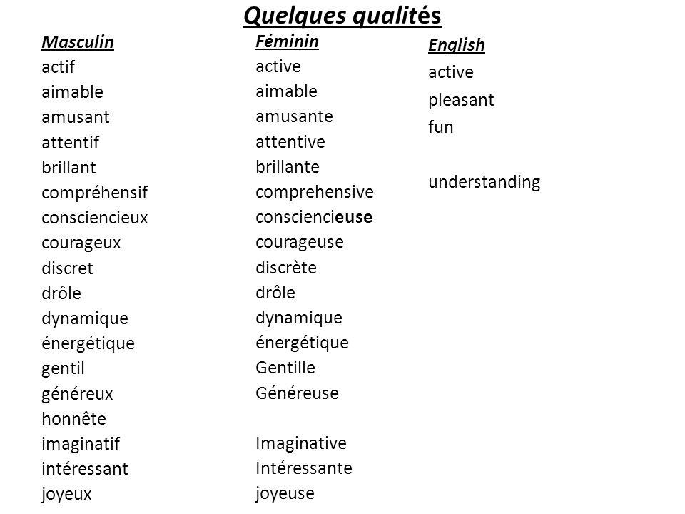 Quelques qualités Masculin