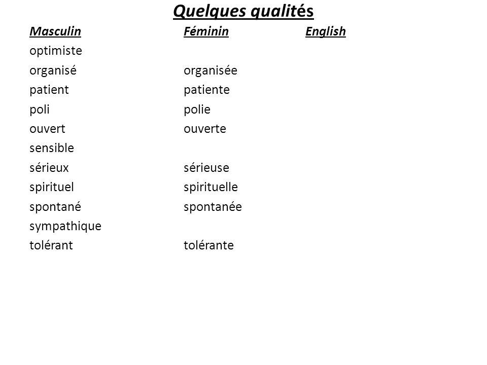 Quelques qualités Masculin optimiste organisé patient poli ouvert