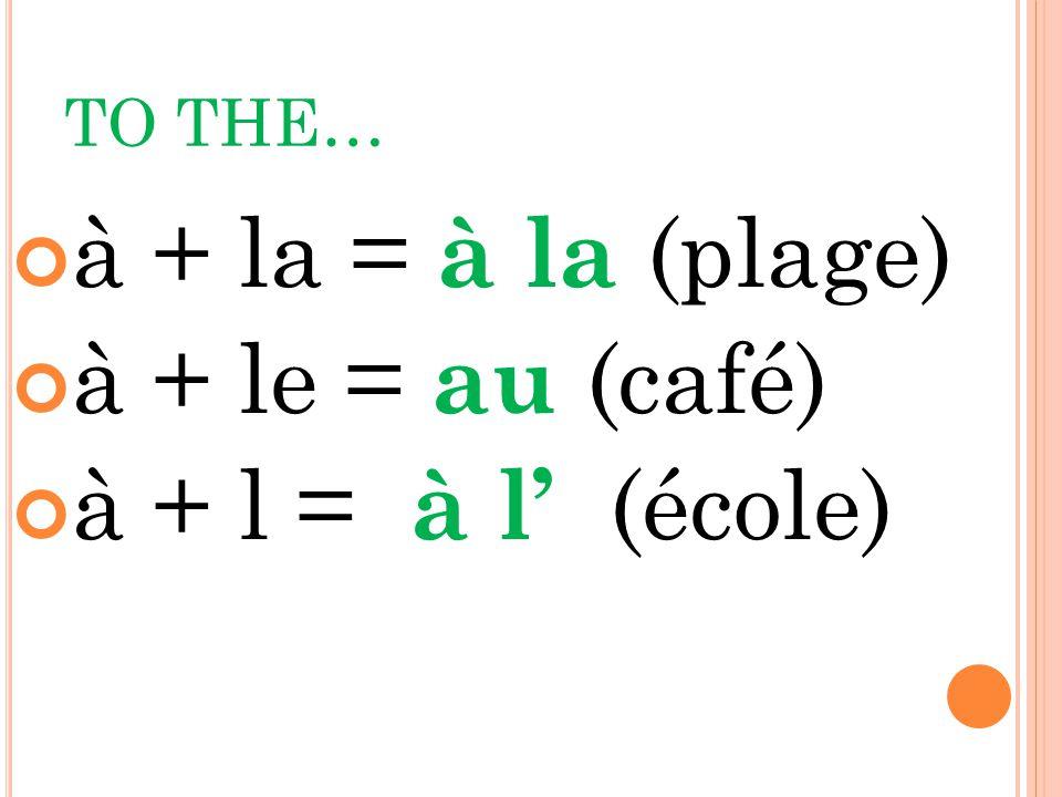 TO THE… à + la = à la (plage) à + le = au (café) à + l = à l' (école)