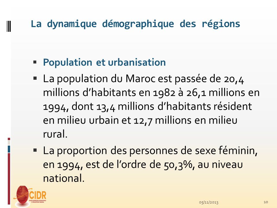 La dynamique démographique des régions