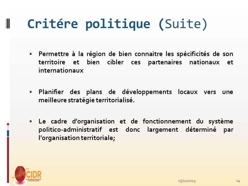 Critére politique (Suite)