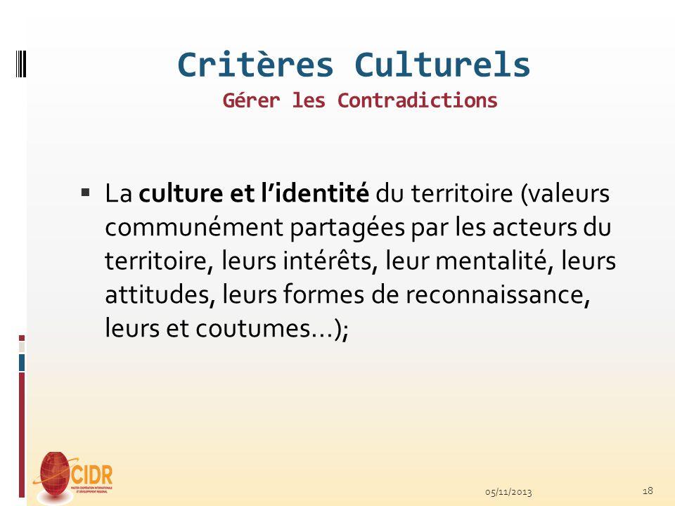 Critères Culturels Gérer les Contradictions