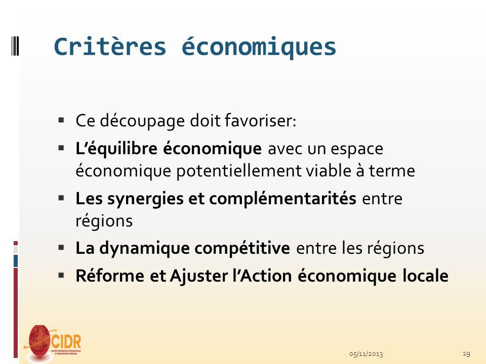 Critères économiques Ce découpage doit favoriser: