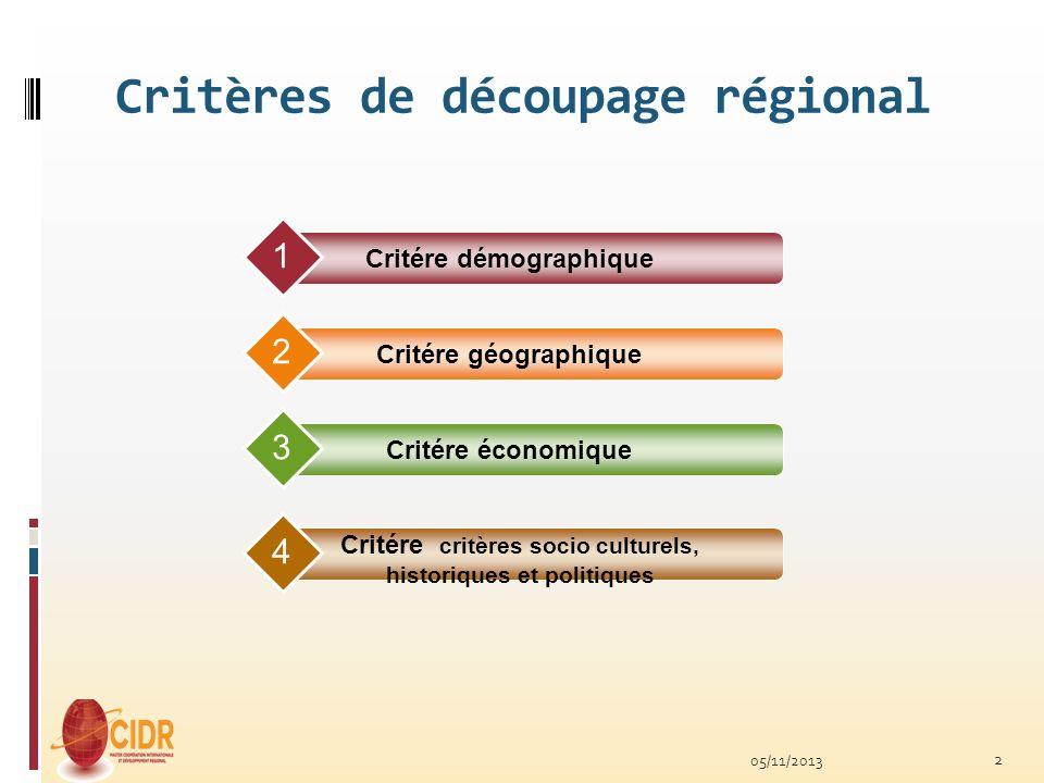 Critères de découpage régional