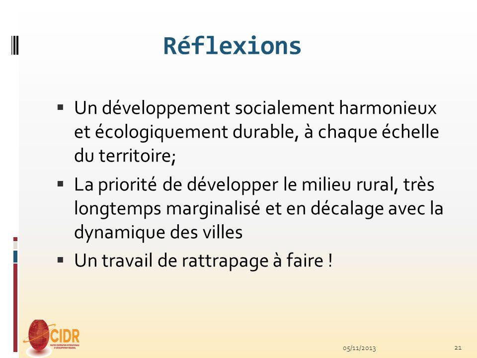 Réflexions Un développement socialement harmonieux et écologiquement durable, à chaque échelle du territoire;