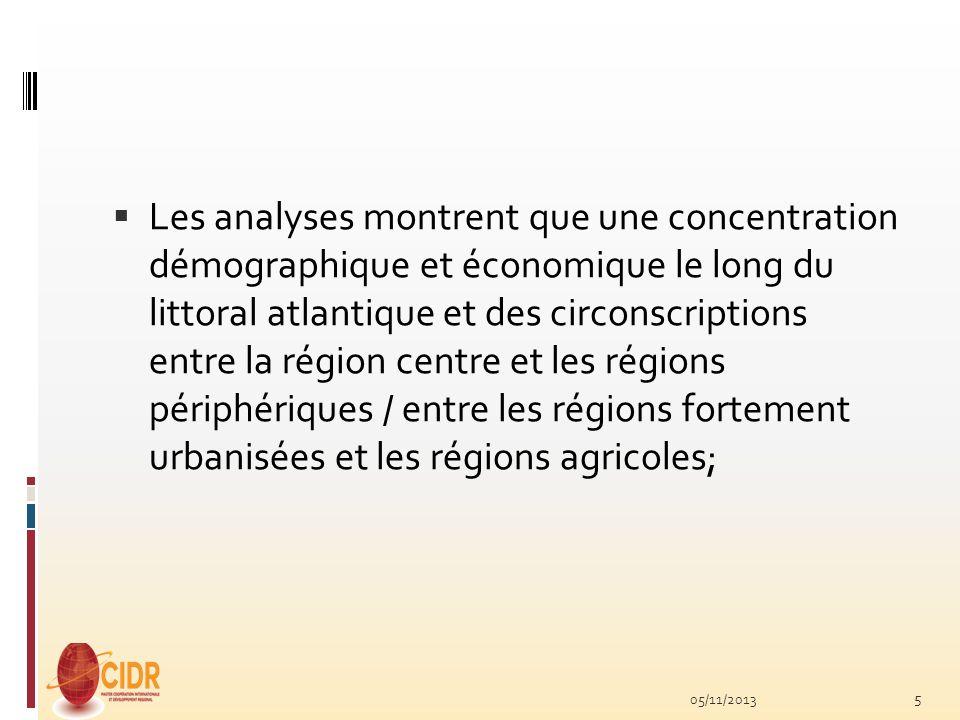 Les analyses montrent que une concentration démographique et économique le long du littoral atlantique et des circonscriptions entre la région centre et les régions périphériques / entre les régions fortement urbanisées et les régions agricoles;
