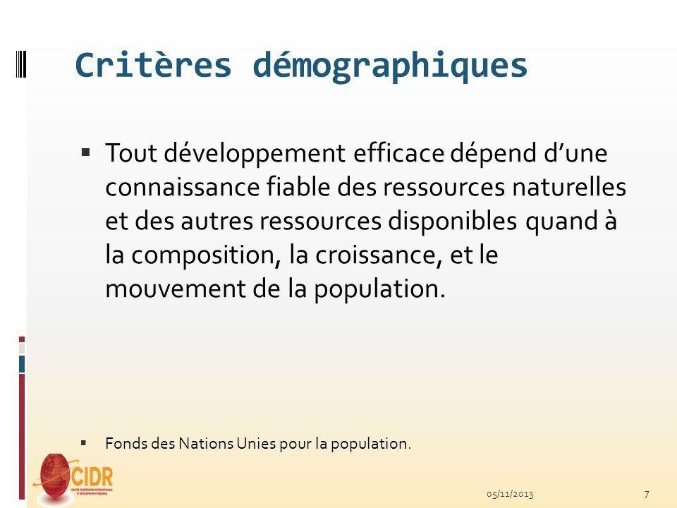 Critères démographiques
