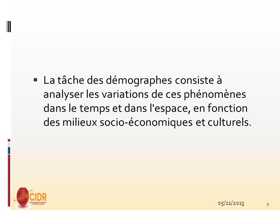 La tâche des démographes consiste à analyser les variations de ces phénomènes dans le temps et dans l espace, en fonction des milieux socio-économiques et culturels.