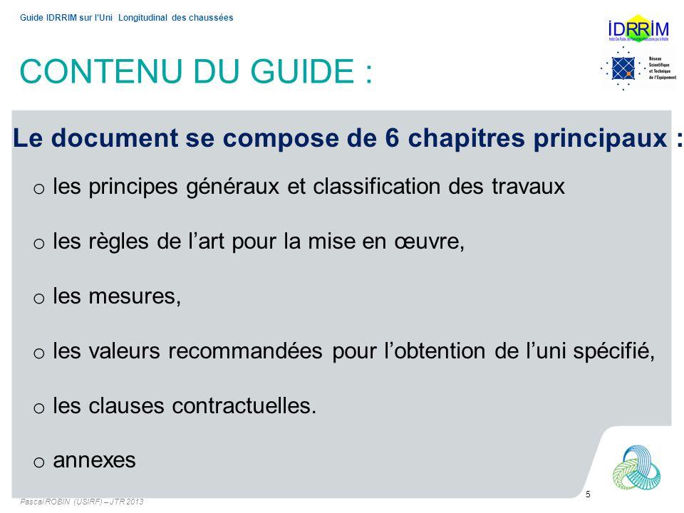 CONTENU DU GUIDE : Le document se compose de 6 chapitres principaux :