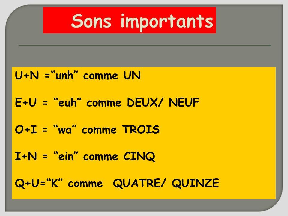 Sons importants U+N = unh comme UN E+U = euh comme DEUX/ NEUF