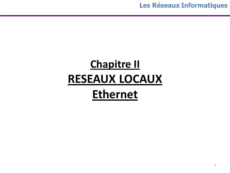 Chapitre II RESEAUX LOCAUX Ethernet