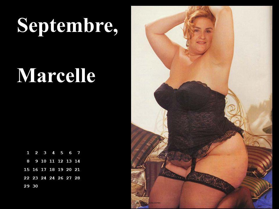 Septembre, Marcelle. 1 2 3 4 5 6 7. 8 9 10 11 12 13 14. 15 16 17 18 19 20 21. 22 23 24 24 26 27 28.