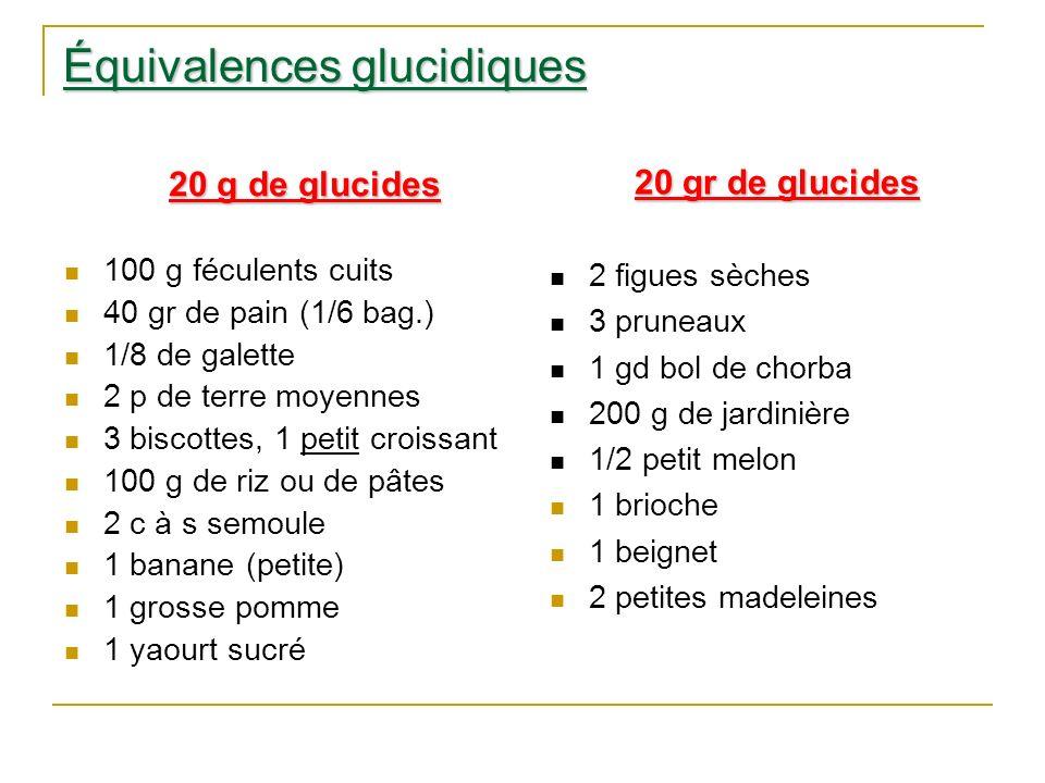 Équivalences glucidiques