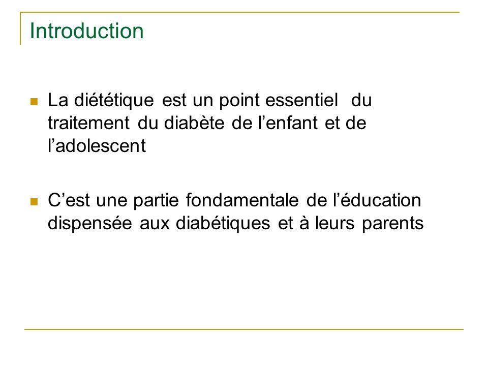 Introduction La diététique est un point essentiel du traitement du diabète de l'enfant et de l'adolescent.