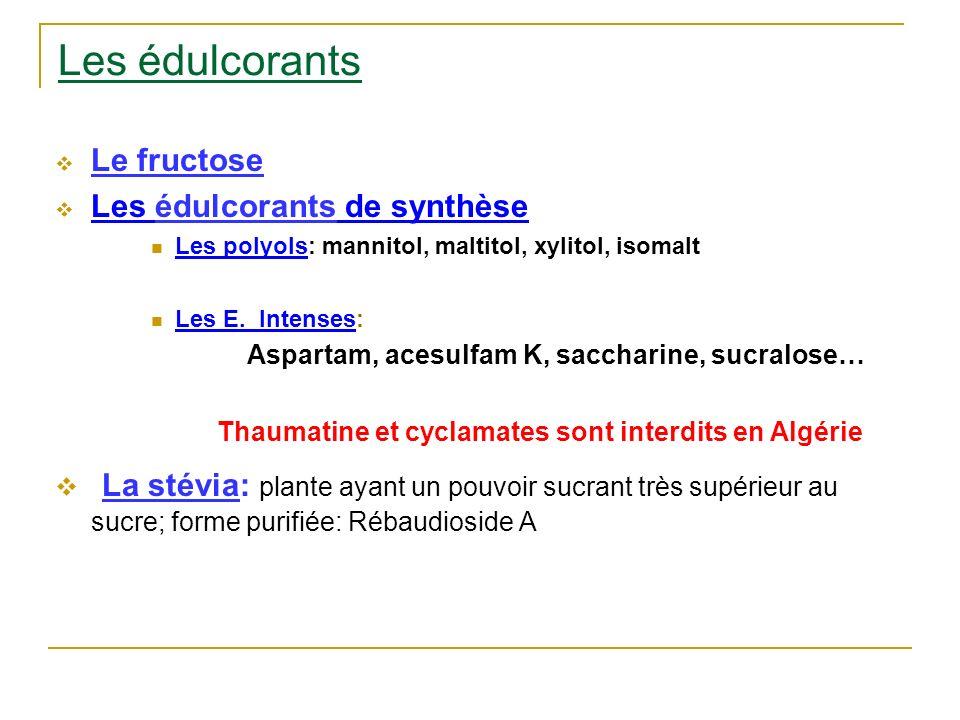 Les édulcorants Le fructose. Les édulcorants de synthèse. Les polyols: mannitol, maltitol, xylitol, isomalt.