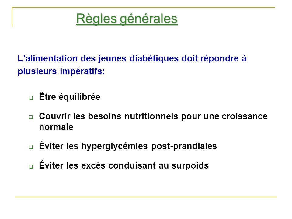 Règles générales L'alimentation des jeunes diabétiques doit répondre à
