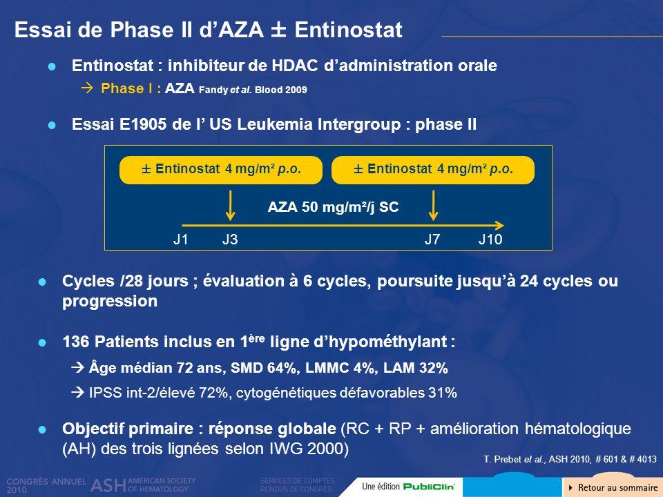 Essai de Phase II d'AZA ± Entinostat