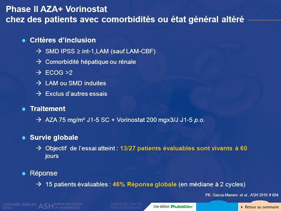 Phase II AZA+ Vorinostat chez des patients avec comorbidités ou état général altéré