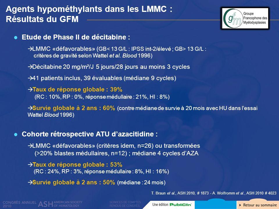 Agents hypométhylants dans les LMMC : Résultats du GFM