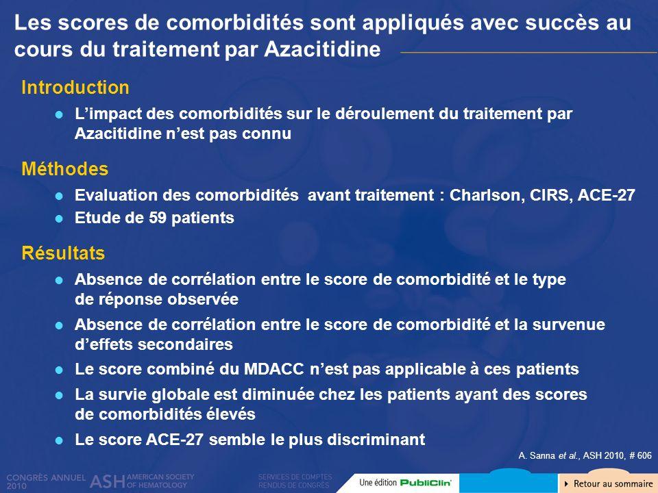 Les scores de comorbidités sont appliqués avec succès au cours du traitement par Azacitidine
