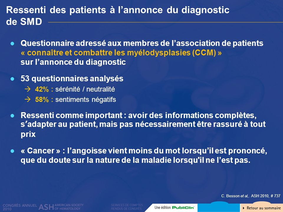 Ressenti des patients à l'annonce du diagnostic de SMD