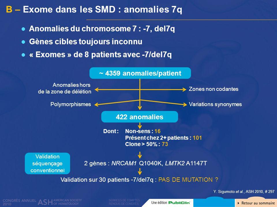 B – Exome dans les SMD : anomalies 7q