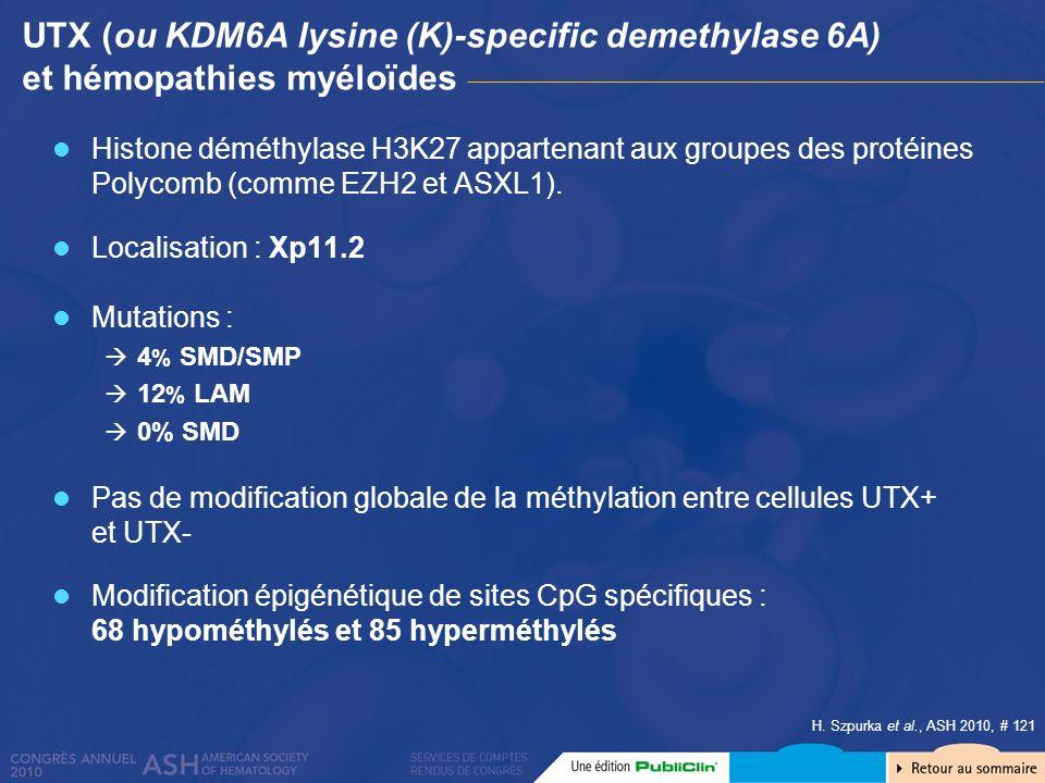 UTX (ou KDM6A lysine (K)-specific demethylase 6A) et hémopathies myéloïdes