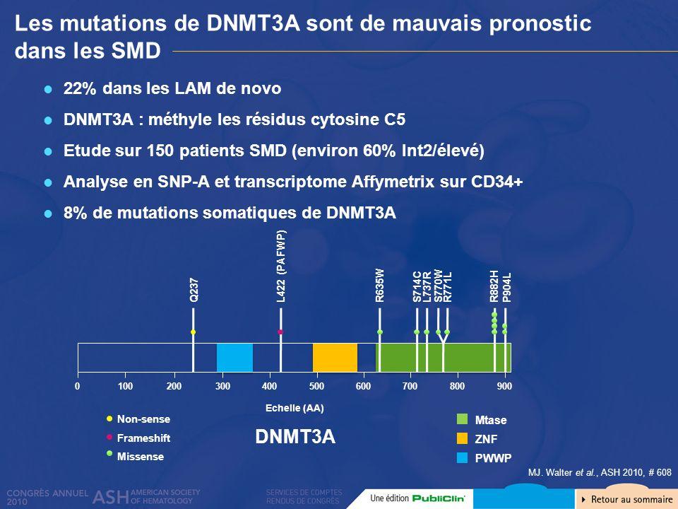 Les mutations de DNMT3A sont de mauvais pronostic dans les SMD