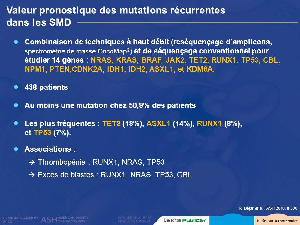 Valeur pronostique des mutations récurrentes dans les SMD