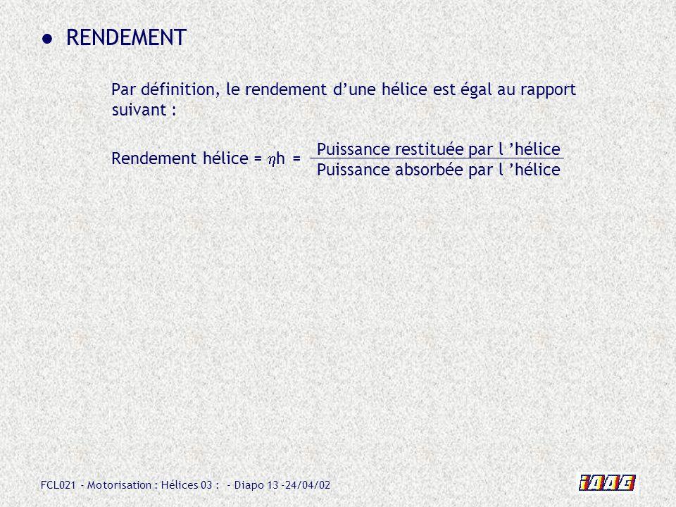 RENDEMENT Par définition, le rendement d'une hélice est égal au rapport suivant : Rendement hélice = hh =