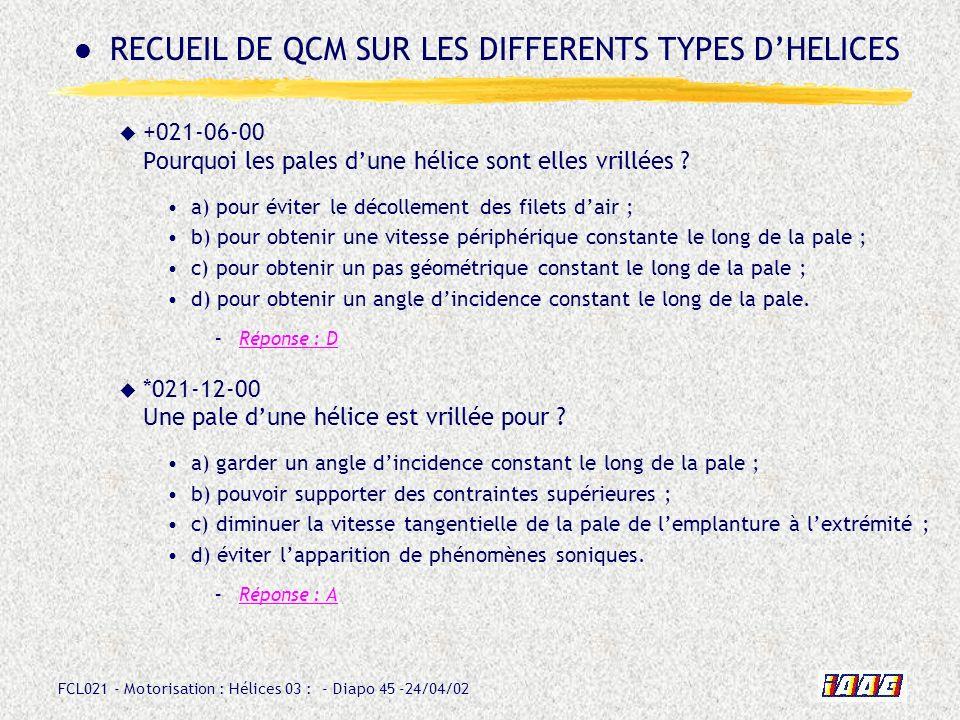 RECUEIL DE QCM SUR LES DIFFERENTS TYPES D'HELICES