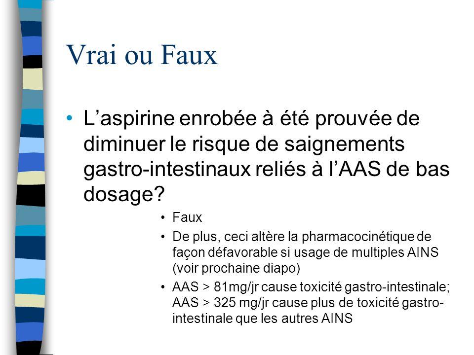 Vrai ou Faux L'aspirine enrobée à été prouvée de diminuer le risque de saignements gastro-intestinaux reliés à l'AAS de bas dosage