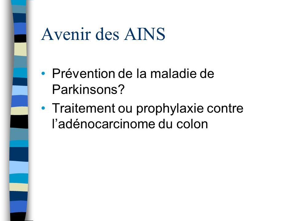 Avenir des AINS Prévention de la maladie de Parkinsons