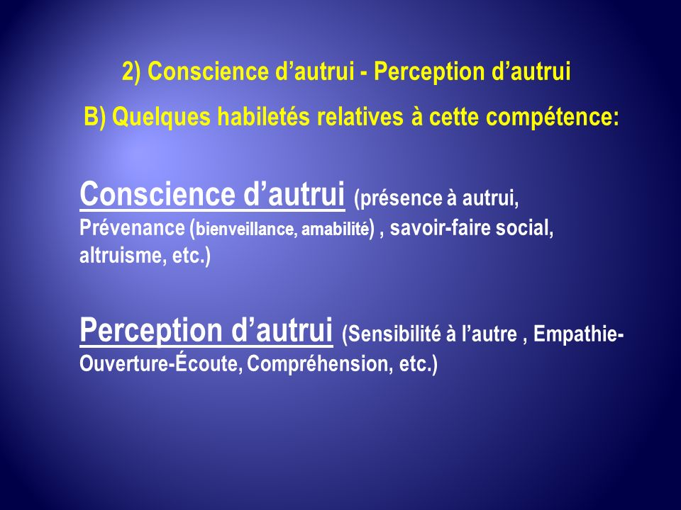 2) Conscience d'autrui - Perception d'autrui