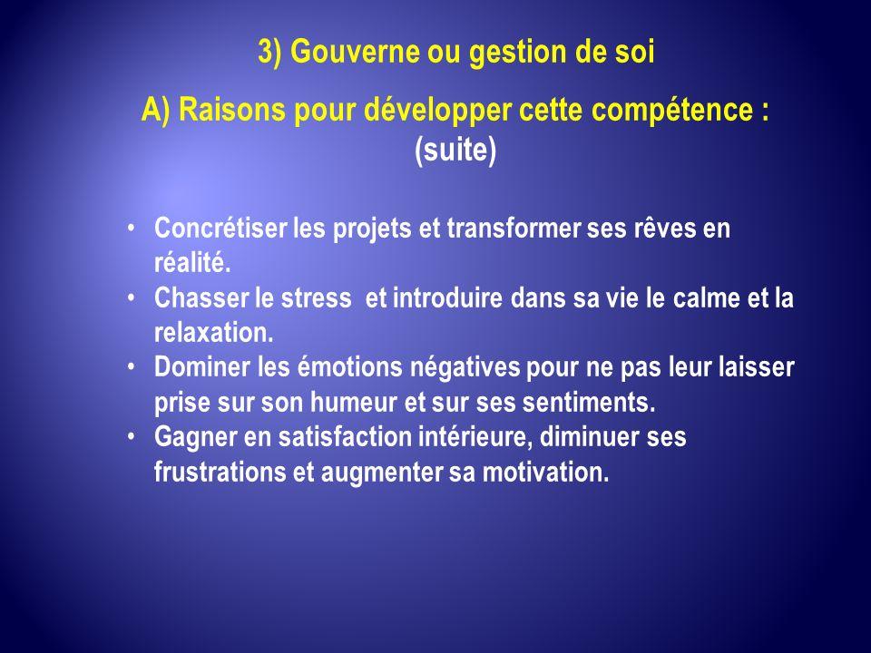 3) Gouverne ou gestion de soi