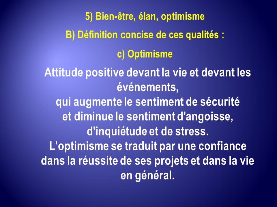 Attitude positive devant la vie et devant les événements,
